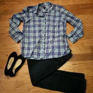 Talbots Plaid Ruffle Front Button Down Blouse